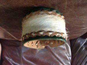 Leather and deer fur bracelet