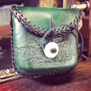 Leather laced coin pouch