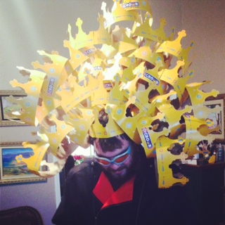 A head full of Burger King crowns