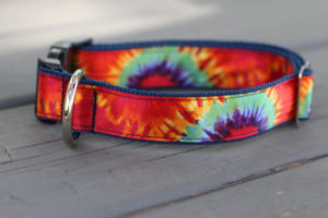 Silk tie dye dog collar from Darla Jane