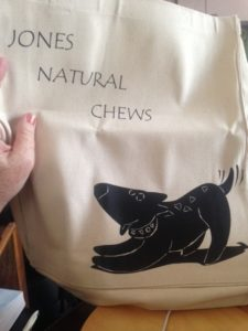 ToteTails custom canvas tote bag designed for Jones Natural Chews